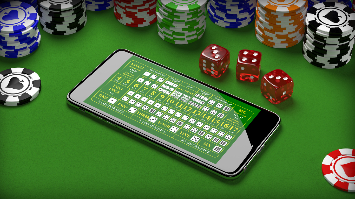 Online casino gambling concept with smartphone